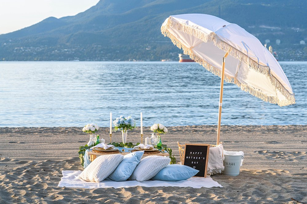 Luxurious blue-themed beach picnic at Spanish Banks.