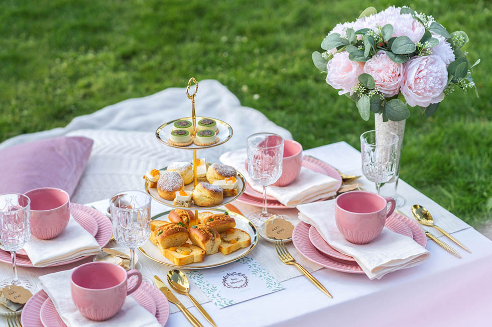 Afternoon Delight package with high tea treats catered by Bon Moment.